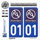 Jeu de 2 Stickers pour plaques d'immatriculation auto - Modèle : 01 Rhône-Alpes - LogoType II