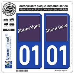 Jeu de 2 Stickers pour plaques d'immatriculation auto - Modèle : 01 Rhône-Alpes - LogoType