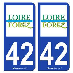 Jeu de 2 Stickers pour plaques d'immatriculation auto - Modèle : 42 Montbrison - Agglo