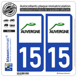 2 Autocollants plaque immatriculation Auto 15 Auvergne - LogoType
