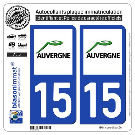 Jeu de 2 Stickers pour plaques d'immatriculation auto - Modèle : 15 Auvergne - LogoType