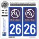 Jeu de 2 Stickers pour plaques d'immatriculation auto - Modèle : 26 Rhône-Alpes - LogoType II