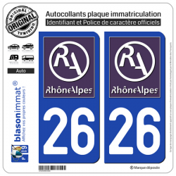 2 Autocollants plaque immatriculation Auto 26 Rhône-Alpes - LogoType II