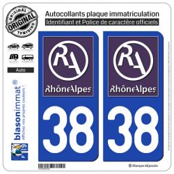 2 Autocollants plaque immatriculation Auto 38 Rhône-Alpes - LogoType II