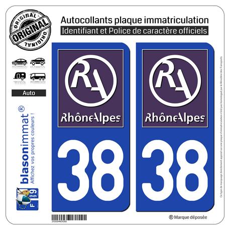Jeu de 2 Stickers pour plaques d'immatriculation auto - Modèle : 38 Rhône-Alpes - LogoType II