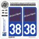 Jeu de 2 Stickers pour plaques d'immatriculation auto - Modèle : 38 Rhône-Alpes - LogoType