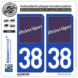 2 Autocollants plaque immatriculation Auto 38 Rhône-Alpes - LogoType