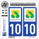 Jeu de 2 Stickers pour plaques d'immatriculation auto - Modèle : 10 Champagne-Ardenne - LogoType