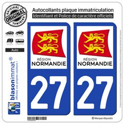 2 Stickers de plaque d'immatriculation auto 27 Normandie - LogoType