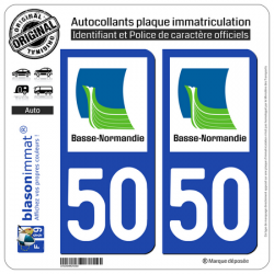 2 Autocollants plaque immatriculation Auto 50 Basse-Normandie - LogoType