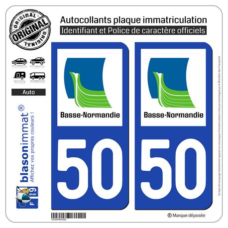 Jeu de 2 Stickers pour plaques d'immatriculation auto - Modèle : 50 Basse-Normandie - LogoType