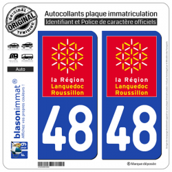 2 Autocollants plaque immatriculation Auto 48 Languedoc-Roussillon - LogoType