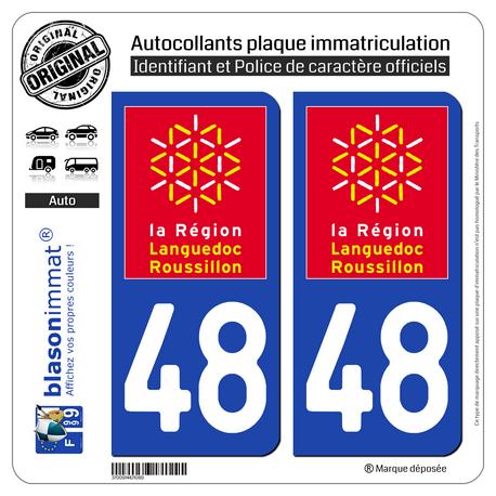 Jeu de 2 Stickers pour plaques d'immatriculation auto - Modèle : 48 Languedoc-Roussillon - LogoType