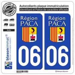 2 Autocollants plaque immatriculation Auto 06 PACA - LogoType