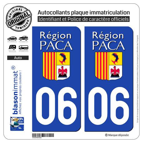 Jeu de 2 Stickers pour plaques d'immatriculation auto - Modèle : 06 PACA - LogoType