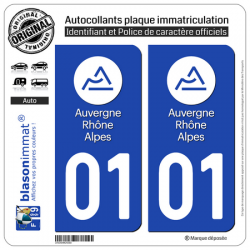 2 Autocollants immatriculation Auto 01 Auvergne-Rhône-Alpes - LogoType