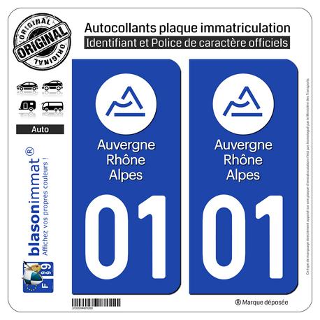 Autocollant plaque immatriculation 01 Auvergne-Rhône-Alpes - LogoType