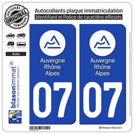 Autocollant plaque immatriculation 07 Auvergne-Rhône-Alpes - LogoType
