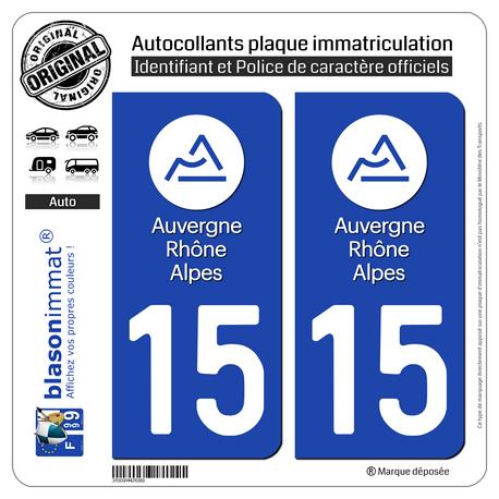 Autocollant plaque immatriculation 15 Auvergne-Rhône-Alpes - LogoType