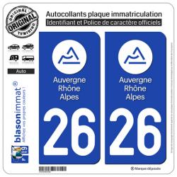 Autocollant plaque immatriculation 26 Auvergne-Rhône-Alpes - LogoType