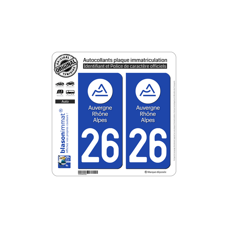 autocollant plaque immatriculation departement 26 drome logotype iii. Black Bedroom Furniture Sets. Home Design Ideas