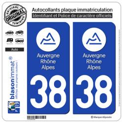 Autocollant plaque immatriculation 38 Auvergne-Rhône-Alpes - LogoType