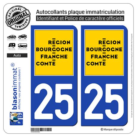 2 Autocollants plaque immatriculation auto 25 Bourgogne-Franche-Comté - LogoType