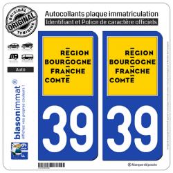 2 Autocollants plaque immatriculation auto 39 Bourgogne-Franche-Comté - LogoType