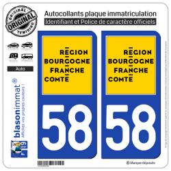 2 Autocollants plaque immatriculation auto 58 Bourgogne-Franche-Comté - LogoType