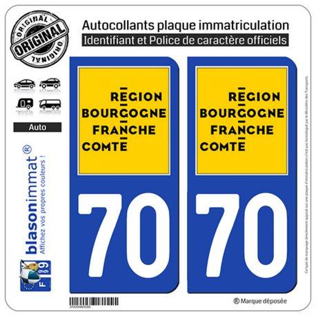 2 Autocollants plaque immatriculation auto 70 Bourgogne-Franche-Comté - LogoType