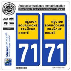 2 Autocollants plaque immatriculation Auto 71 Bourgogne-Franche-Comté - LogoType