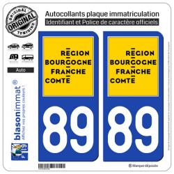 2 Autocollants plaque immatriculation auto 89 Bourgogne-Franche-Comté - LogoType