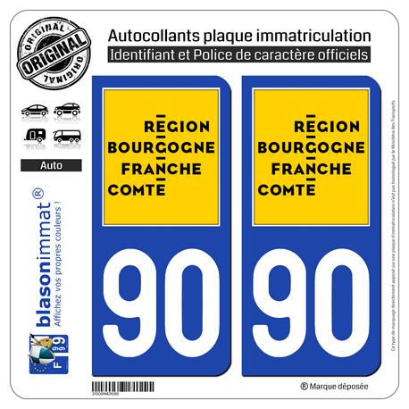 2 Autocollants plaque immatriculation auto 90 Bourgogne-Franche-Comté - LogoType