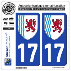 2 Autocollants plaque immatriculation Auto 17 Nouvelle-Aquitaine - LogoType