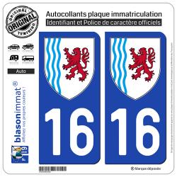 2 Autocollants plaque immatriculation Auto 16 Nouvelle-Aquitaine - LogoType