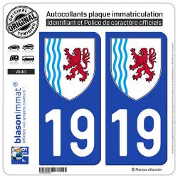 2 Autocollants plaque immatriculation Auto 19 Nouvelle-Aquitaine - LogoType