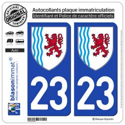 autocollant plaque immatriculation 23 nouvelle aquitaine logotype. Black Bedroom Furniture Sets. Home Design Ideas