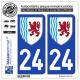 2 Autocollants plaque immatriculation Auto 24 Nouvelle-Aquitaine - LogoType