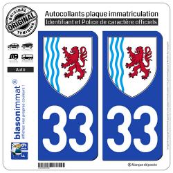 2 Autocollants plaque immatriculation Auto 33 Nouvelle-Aquitaine - LogoType
