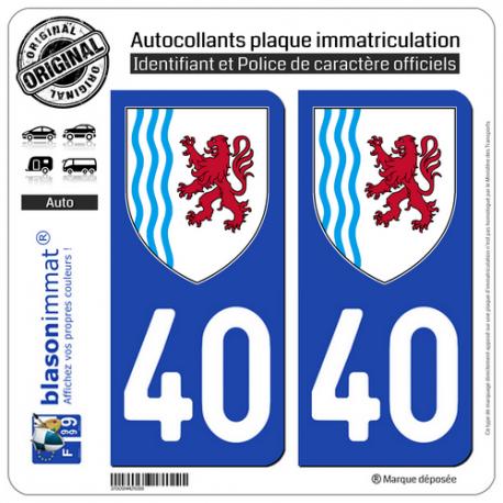 2 Autocollants plaque immatriculation Auto 40 Nouvelle-Aquitaine - LogoType