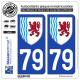 2 Autocollants plaque immatriculation Auto 79 Nouvelle-Aquitaine - LogoType