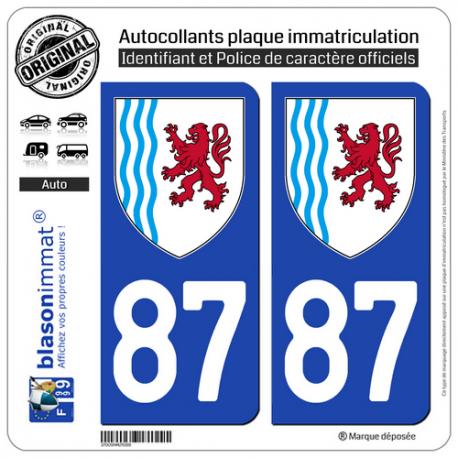 2 Autocollants plaque immatriculation Auto 87 Nouvelle-Aquitaine - LogoType