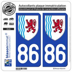 2 Autocollants plaque immatriculation Auto 86 Nouvelle-Aquitaine - LogoType