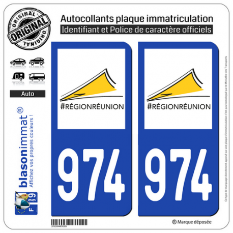 2 Autocollants plaque imatriculation Auto 974-H Réunion - LogoType II