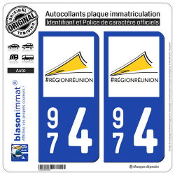 2 Autocollants plaque imatriculation Auto 974 Réunion - LogoType II