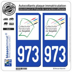 2 Autocollants plaque immatriculation Auto 973-H Guyane - LogoType II