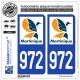2 Autocollants plaque immatriculation Auto 972-H Martinique - LogoType II