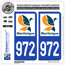 2 Autocollants plaque immatriculation Auto 972-H Martinique - LogoType II