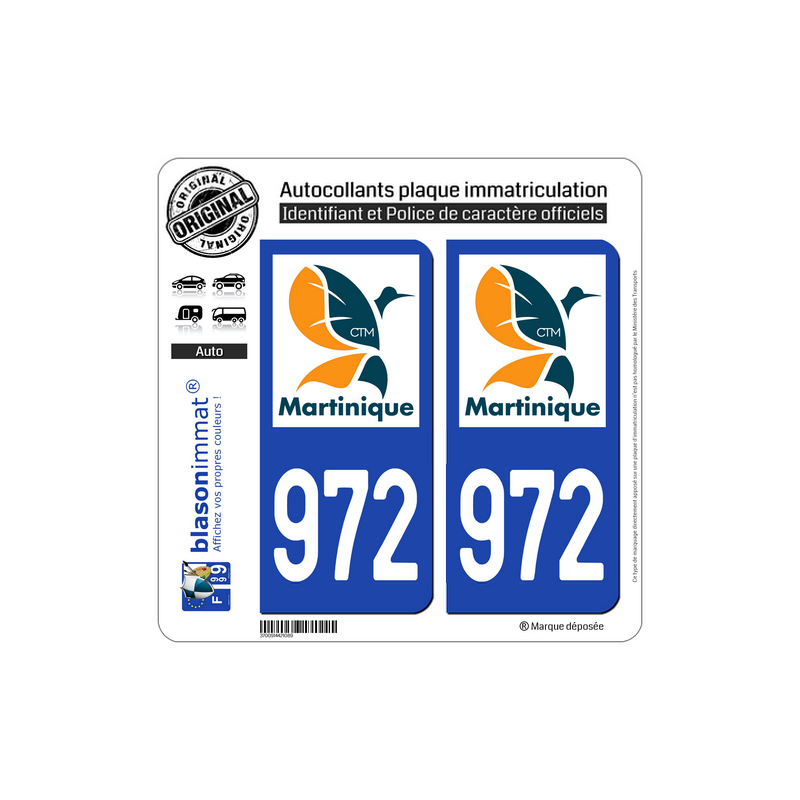 Badges, Insignes, Mascottes 972 Ile Martinique Departement Immatriculation 2 X Autocollants Sticker Auto