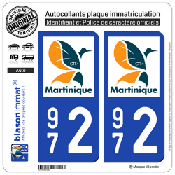 2 Autocollants plaque imatriculation Auto 972 Martinique - LogoType II